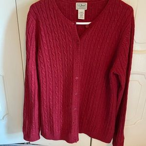 L.L. Bean Cable Knit Wool Cardigan Sweater